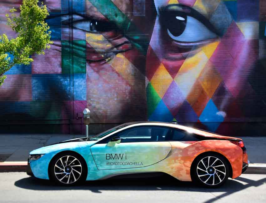 BMW i8 Coupe Scissor Doors Hybrid Car Maintenance Limited Edition Road to Coachella