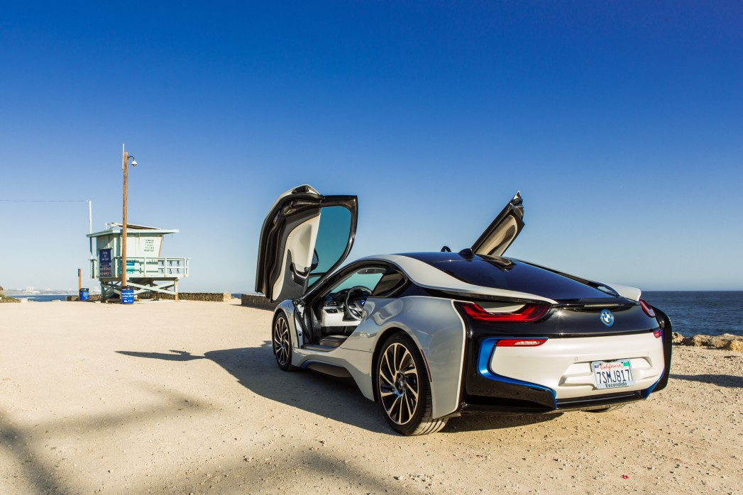 bmw i8 at the beach